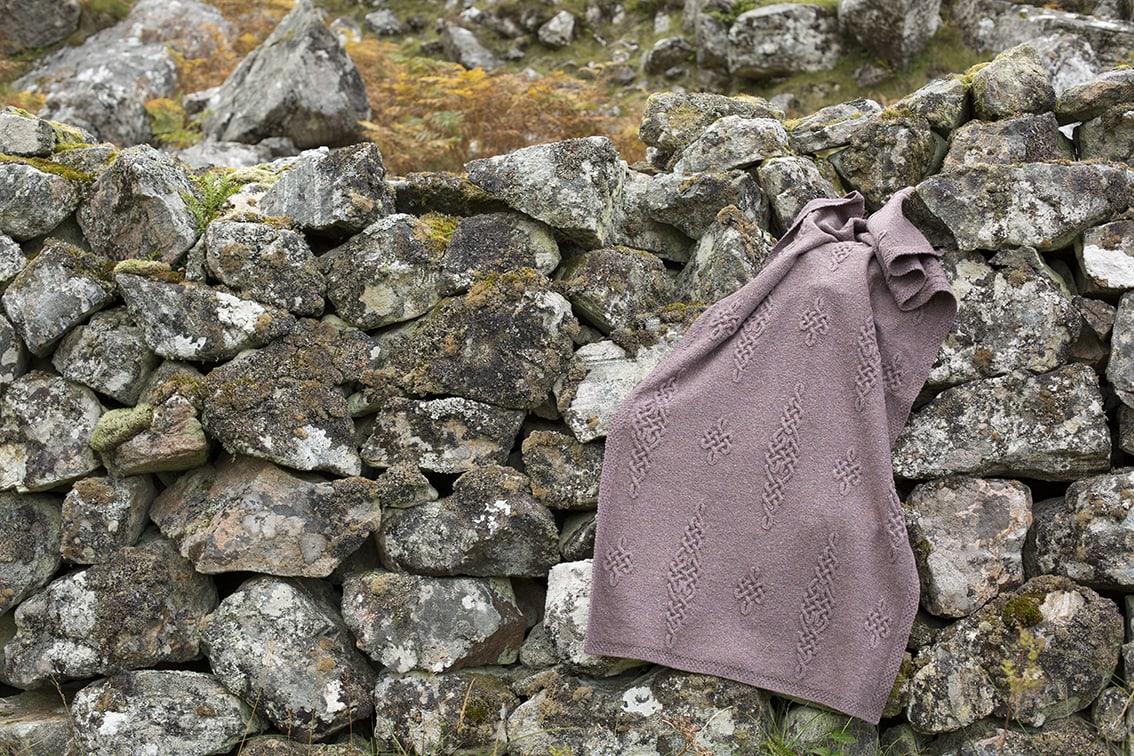 Dunadd patterncard kit design by Alice Starmore in Hebridean 3 Ply