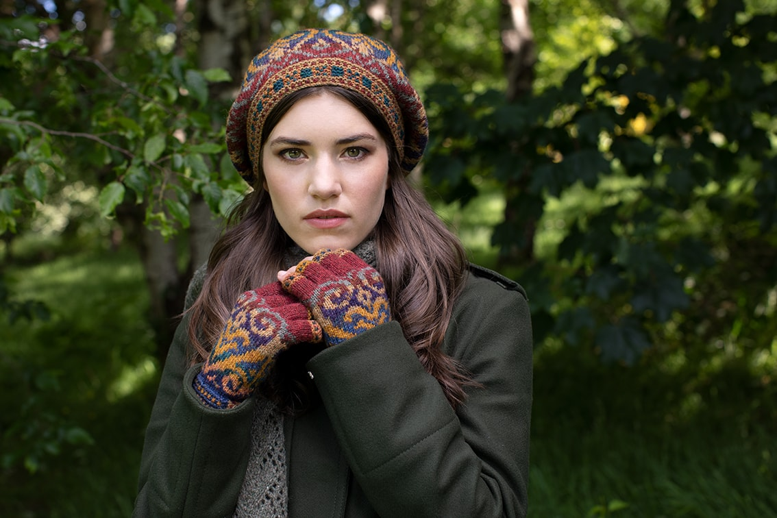 Henry VIII Gloves video class design by Alice Starmore in Hebridean 2 Ply